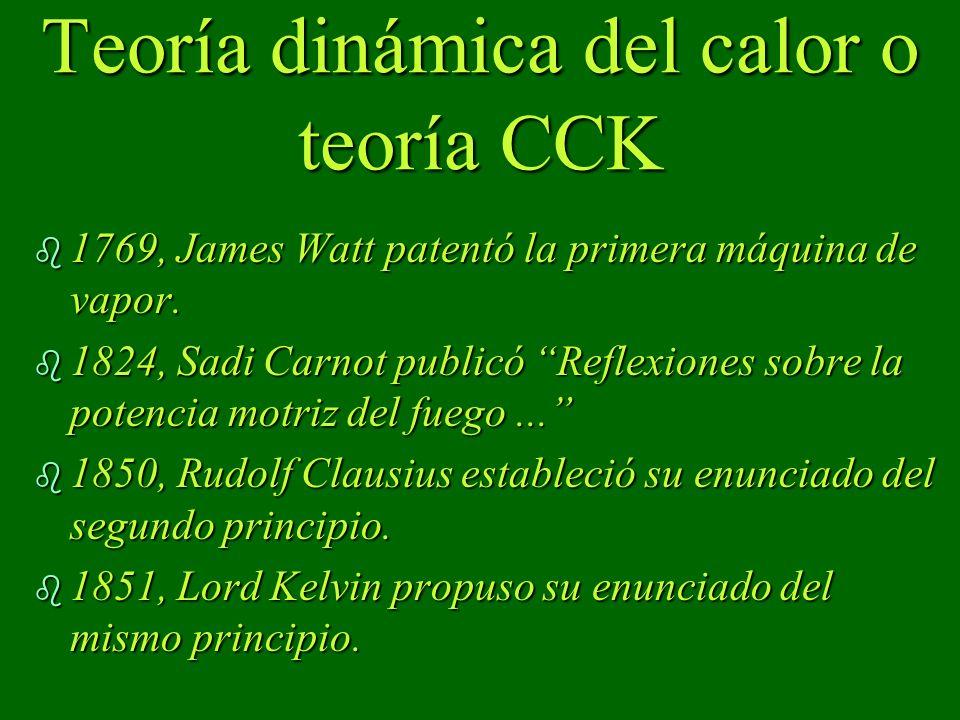 Teoría dinámica del calor o teoría CCK b 1769, James Watt patentó la primera máquina de vapor. b 1824, Sadi Carnot publicó Reflexiones sobre la potenc