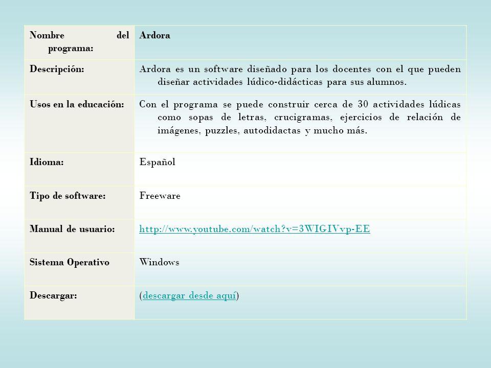 Nombre del programa: Ardora Descripción:Ardora es un software diseñado para los docentes con el que pueden diseñar actividades lúdico-didácticas para sus alumnos.
