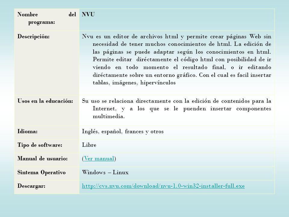 Nombre del programa: NVU Descripción:Nvu es un editor de archivos html y permite crear páginas Web sin necesidad de tener muchos conocimientos de html.