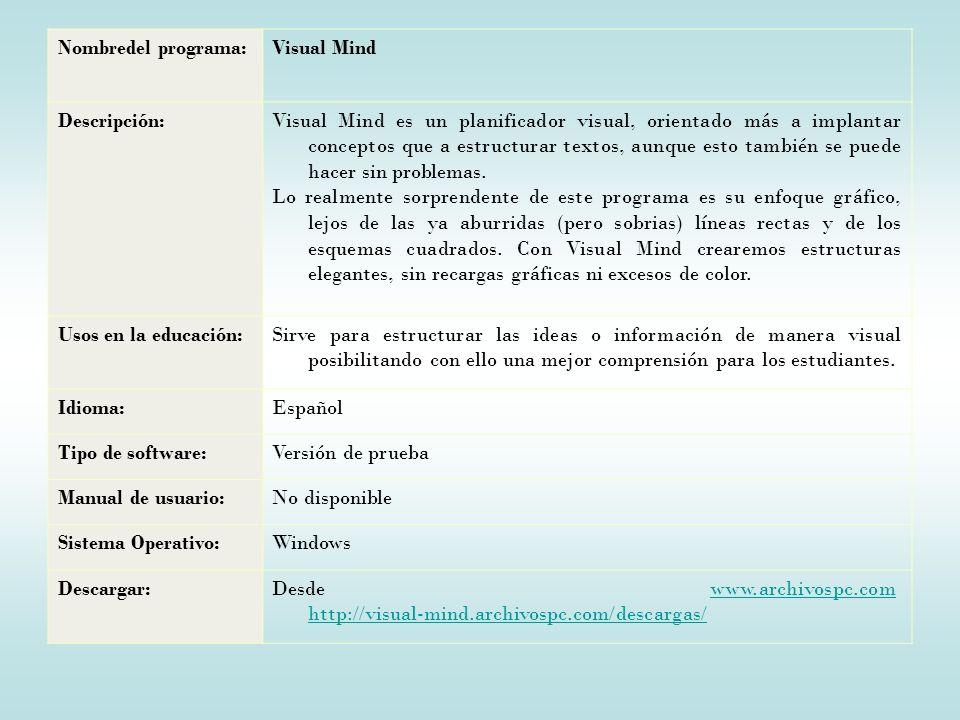 Nombredel programa:Visual Mind Descripción:Visual Mind es un planificador visual, orientado más a implantar conceptos que a estructurar textos, aunque esto también se puede hacer sin problemas.