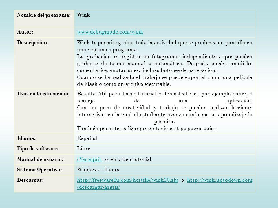 Nombre del programa:Wink Autor:www.debugmode.com/wink Descripción:Wink te permite grabar toda la actividad que se produzca en pantalla en una ventana o programa.