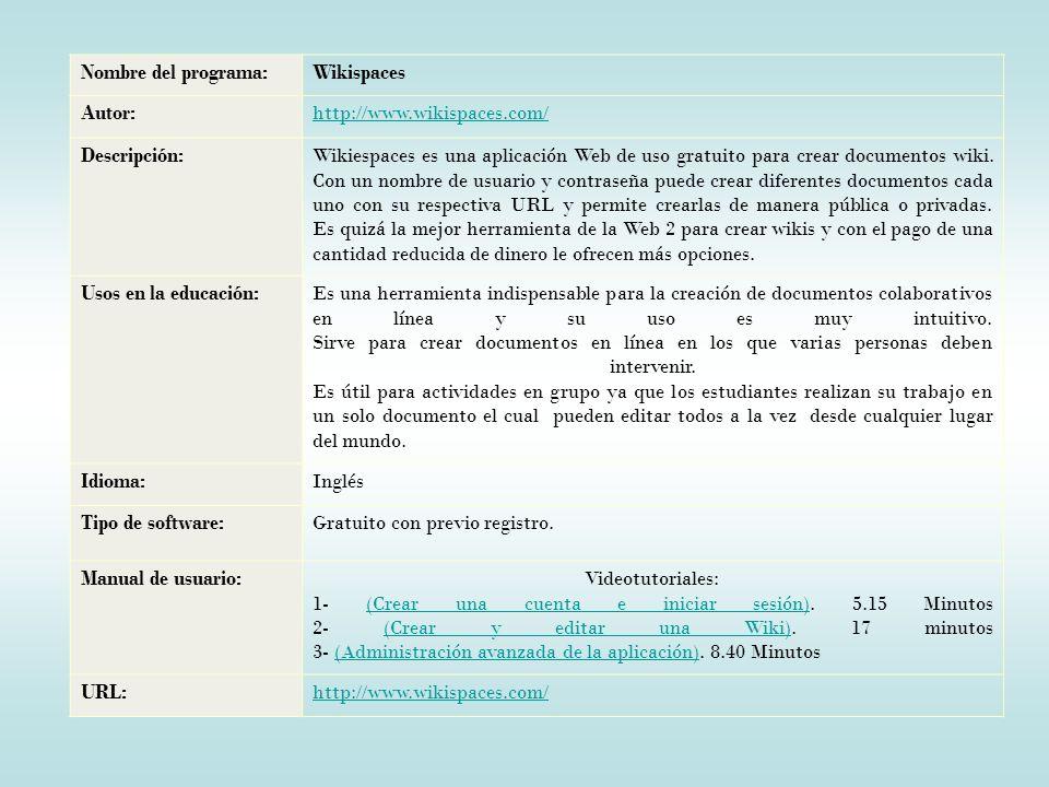 Nombre del programa:Wikispaces Autor:http://www.wikispaces.com/ Descripción:Wikiespaces es una aplicación Web de uso gratuito para crear documentos wiki.