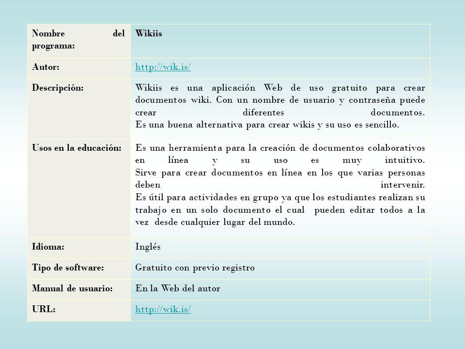 Nombre del programa: Wikiis Autor:http://wik.is/ Descripción:Wikiis es una aplicación Web de uso gratuito para crear documentos wiki.