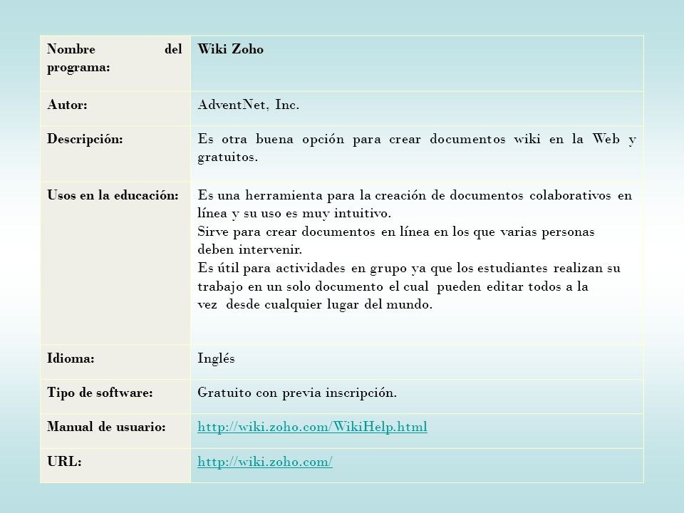 Nombre del programa: Wiki Zoho Autor:AdventNet, Inc.