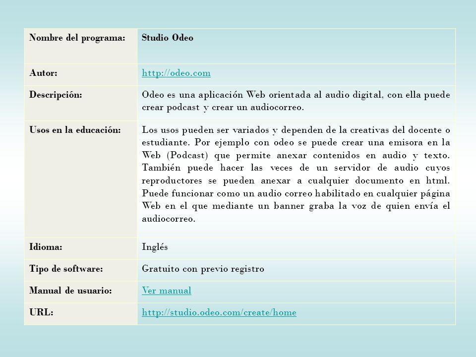 Nombre del programa:Studio Odeo Autor:http://odeo.com Descripción:Odeo es una aplicación Web orientada al audio digital, con ella puede crear podcast y crear un audiocorreo.