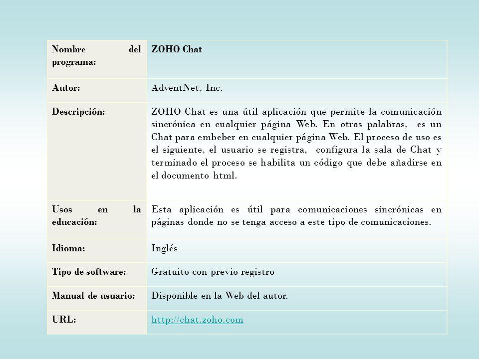 Nombre del programa: ZOHO Chat Autor:AdventNet, Inc.