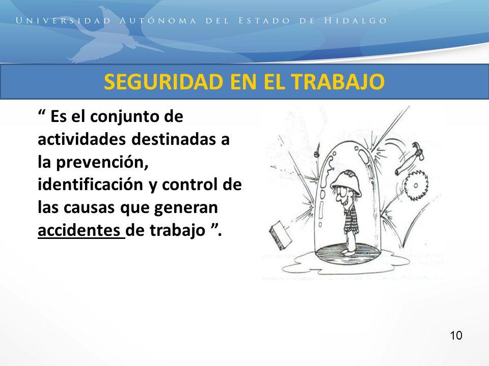 Es el conjunto de actividades destinadas a la prevención, identificación y control de las causas que generan accidentes de trabajo. SEGURIDAD EN EL TR