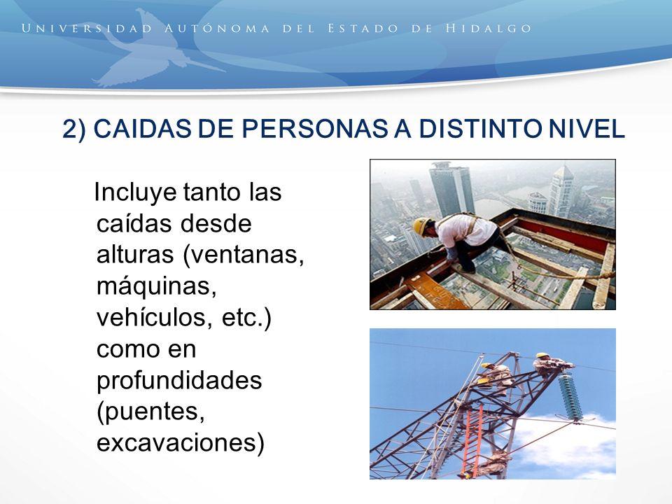 2) CAIDAS DE PERSONAS A DISTINTO NIVEL Incluye tanto las caídas desde alturas (ventanas, máquinas, vehículos, etc.) como en profundidades (puentes, ex