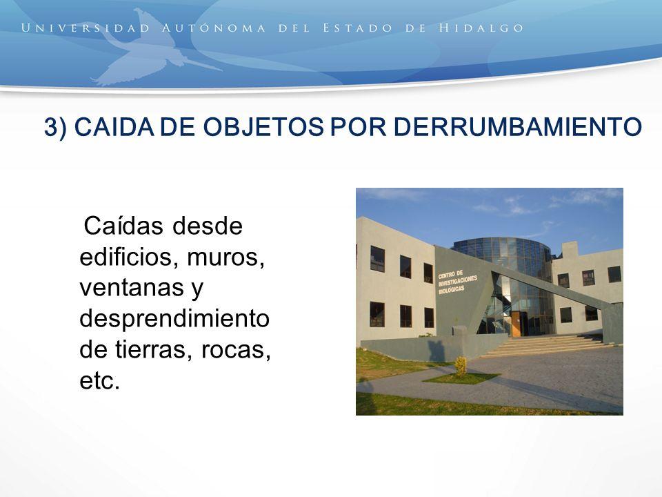 3) CAIDA DE OBJETOS POR DERRUMBAMIENTO Caídas desde edificios, muros, ventanas y desprendimiento de tierras, rocas, etc.