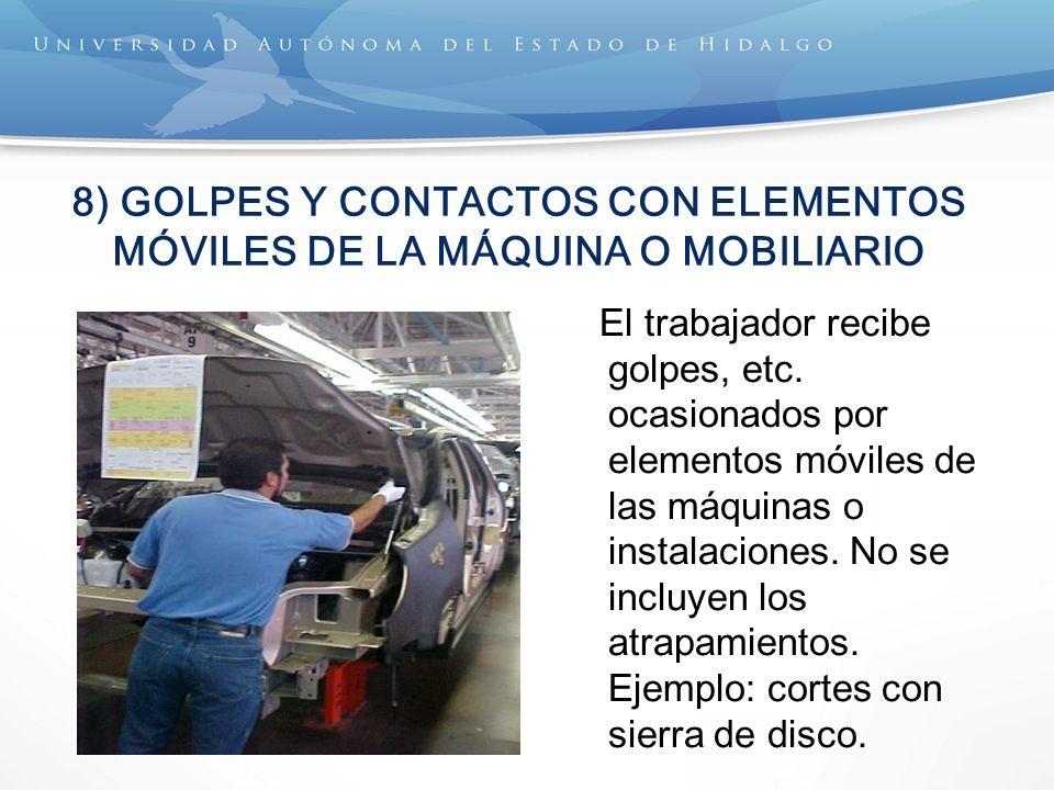 8) GOLPES Y CONTACTOS CON ELEMENTOS MÓVILES DE LA MÁQUINA O MOBILIARIO El trabajador recibe golpes, etc. ocasionados por elementos móviles de las máqu