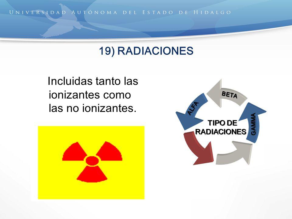 19) RADIACIONES Incluidas tanto las ionizantes como las no ionizantes. TIPO DE TIPO DERADIACIONES ALFABETAGAMMA