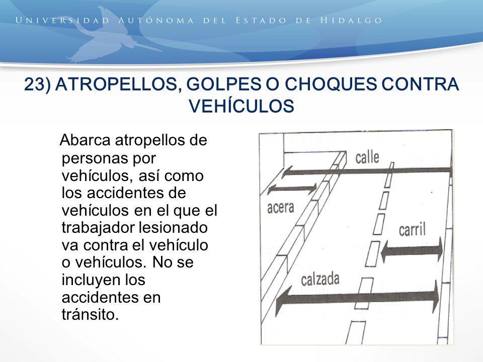 23) ATROPELLOS, GOLPES O CHOQUES CONTRA VEHÍCULOS Abarca atropellos de personas por vehículos, así como los accidentes de vehículos en el que el traba