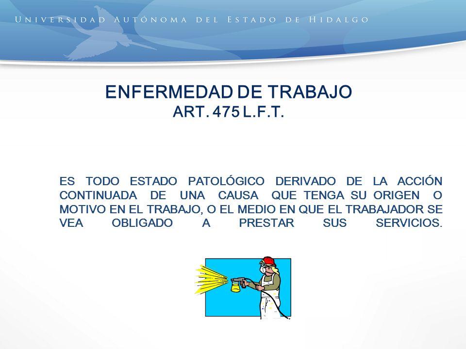 ENFERMEDAD DE TRABAJO ART. 475 L.F.T. ES TODO ESTADO PATOLÓGICO DERIVADO DE LA ACCIÓN CONTINUADA DE UNA CAUSA QUE TENGA SU ORIGEN O MOTIVO EN EL TRABA
