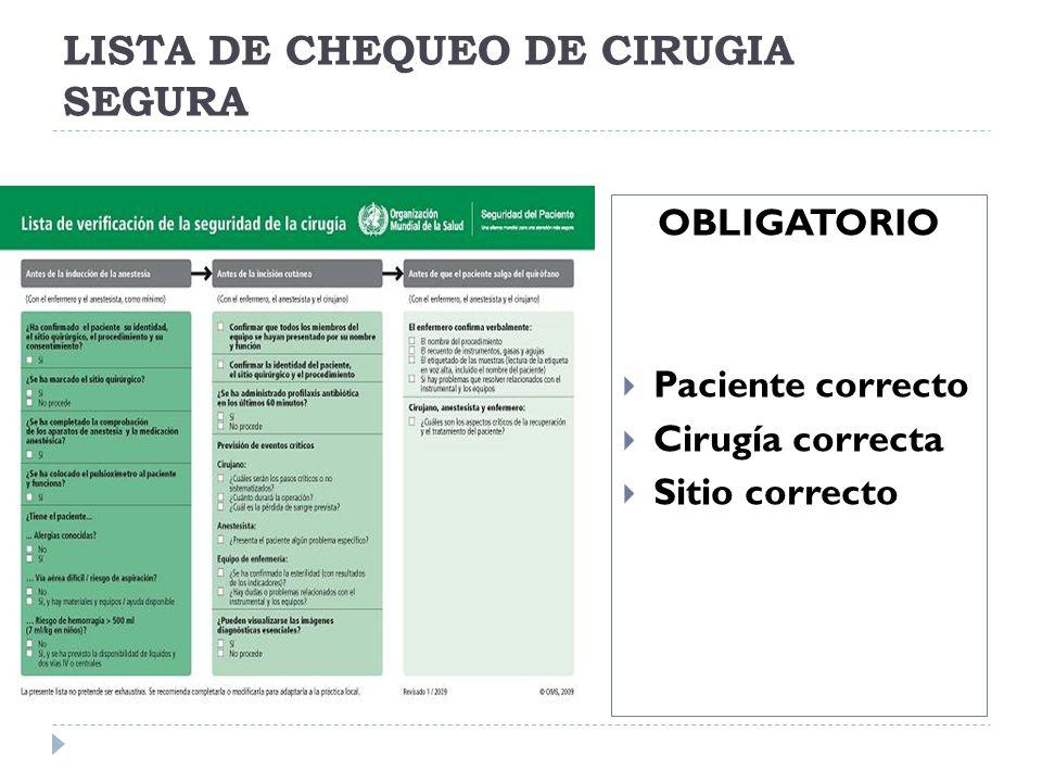 LISTA DE CHEQUEO DE CIRUGIA SEGURA OBLIGATORIO Paciente correcto Cirugía correcta Sitio correcto