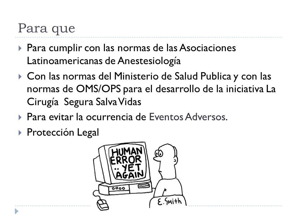 Para que Para cumplir con las normas de las Asociaciones Latinoamericanas de Anestesiología Con las normas del Ministerio de Salud Publica y con las n