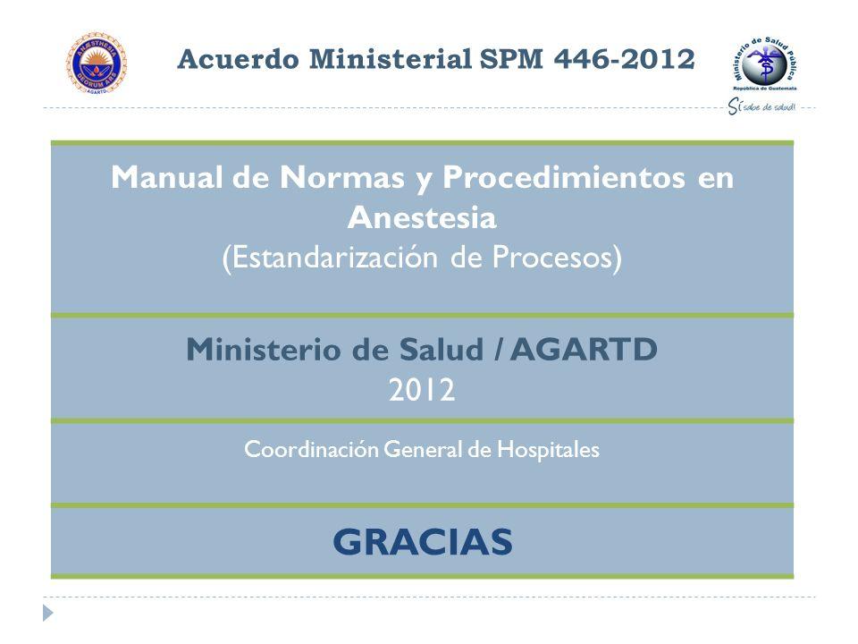 Acuerdo Ministerial SPM 446-2012 Manual de Normas y Procedimientos en Anestesia (Estandarización de Procesos) Ministerio de Salud / AGARTD 2012 Coordi