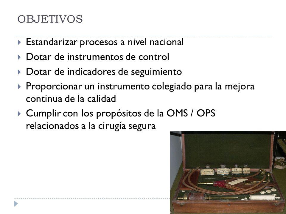 OBJETIVOS Estandarizar procesos a nivel nacional Dotar de instrumentos de control Dotar de indicadores de seguimiento Proporcionar un instrumento cole