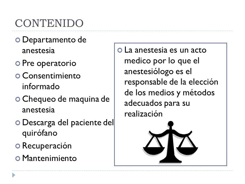 CONTENIDO Departamento de anestesia Pre operatorio Consentimiento informado Chequeo de maquina de anestesia Descarga del paciente del quirófano Recupe