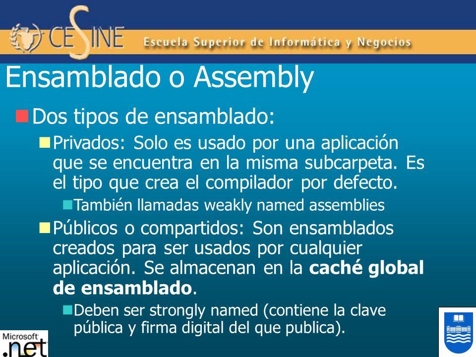Ensamblado o Assembly Dos tipos de ensamblado: Privados: Solo es usado por una aplicación que se encuentra en la misma subcarpeta. Es el tipo que crea