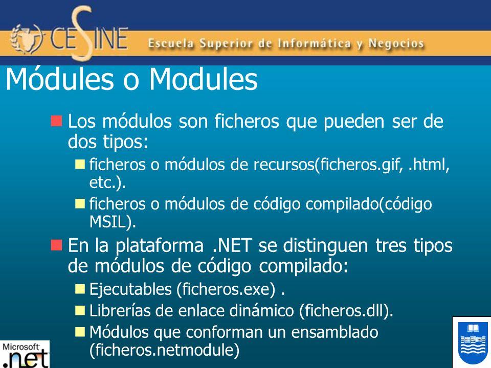 Módules o Modules Los módulos son ficheros que pueden ser de dos tipos: ficheros o módulos de recursos(ficheros.gif,.html, etc.). ficheros o módulos d
