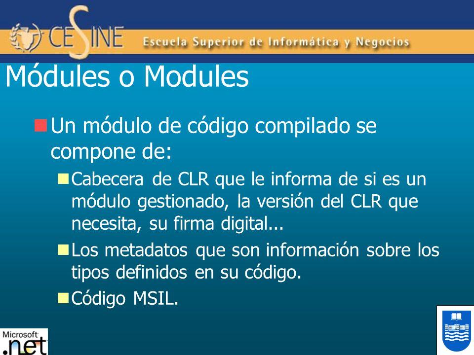 Módules o Modules Un módulo de código compilado se compone de: Cabecera de CLR que le informa de si es un módulo gestionado, la versión del CLR que ne