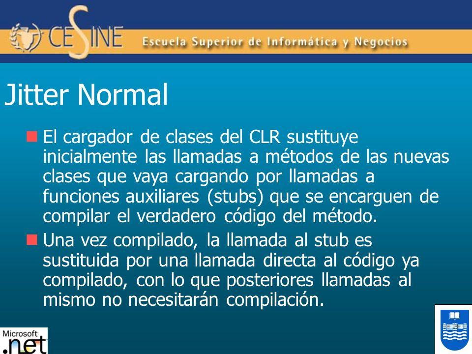 Jitter Normal El cargador de clases del CLR sustituye inicialmente las llamadas a métodos de las nuevas clases que vaya cargando por llamadas a funcio