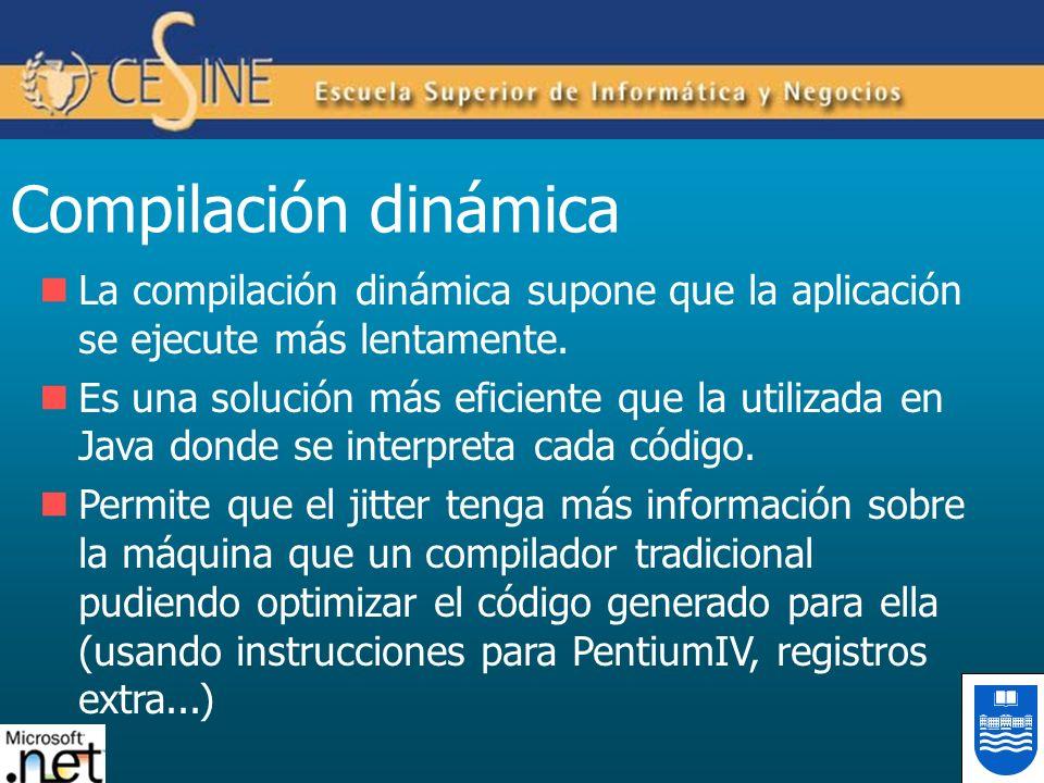 Compilación dinámica La compilación dinámica supone que la aplicación se ejecute más lentamente. Es una solución más eficiente que la utilizada en Jav
