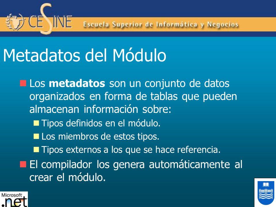 Metadatos del Módulo Los metadatos son un conjunto de datos organizados en forma de tablas que pueden almacenan información sobre: Tipos definidos en