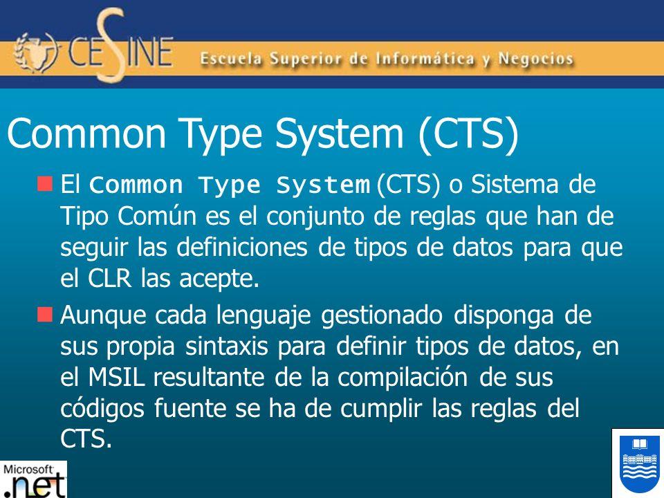 Common Type System (CTS) El Common Type System (CTS) o Sistema de Tipo Común es el conjunto de reglas que han de seguir las definiciones de tipos de d
