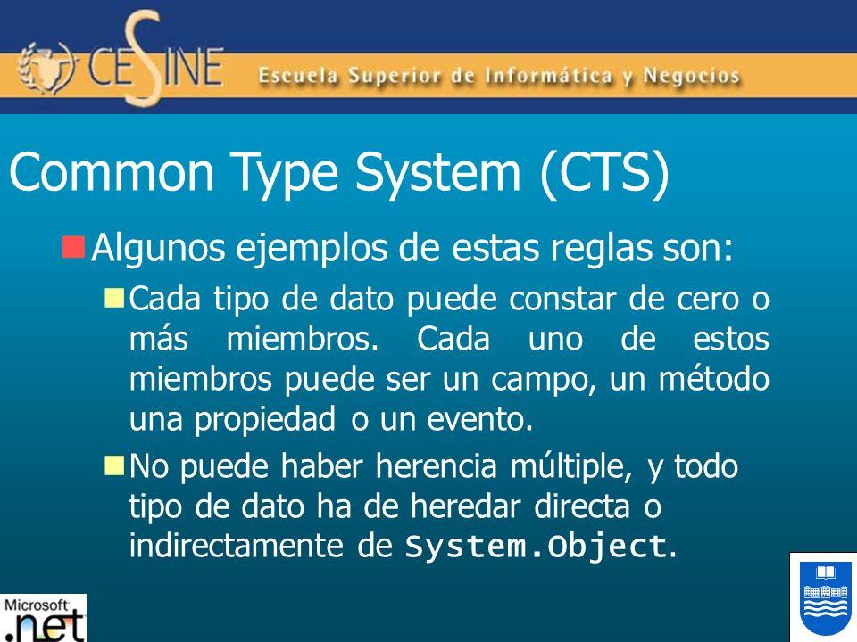 Common Type System (CTS) Algunos ejemplos de estas reglas son: Cada tipo de dato puede constar de cero o más miembros. Cada uno de estos miembros pued