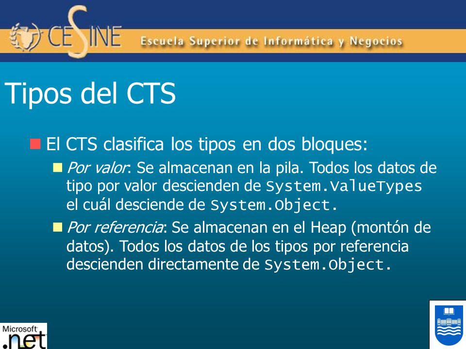 Tipos del CTS El CTS clasifica los tipos en dos bloques: Por valor: Se almacenan en la pila. Todos los datos de tipo por valor descienden de System.Va