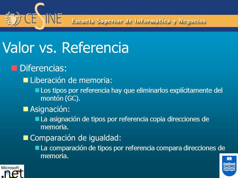 Valor vs. Referencia Diferencias: Liberación de memoria: Los tipos por referencia hay que eliminarlos explícitamente del montón (GC). Asignación: La a
