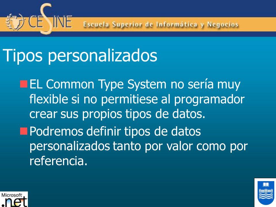 Tipos personalizados EL Common Type System no sería muy flexible si no permitiese al programador crear sus propios tipos de datos. Podremos definir ti
