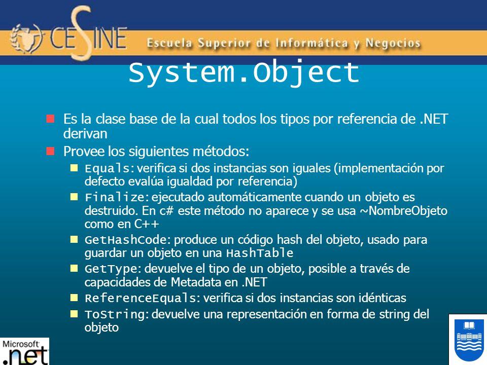 System.Object Es la clase base de la cual todos los tipos por referencia de.NET derivan Provee los siguientes métodos: Equals : verifica si dos instan