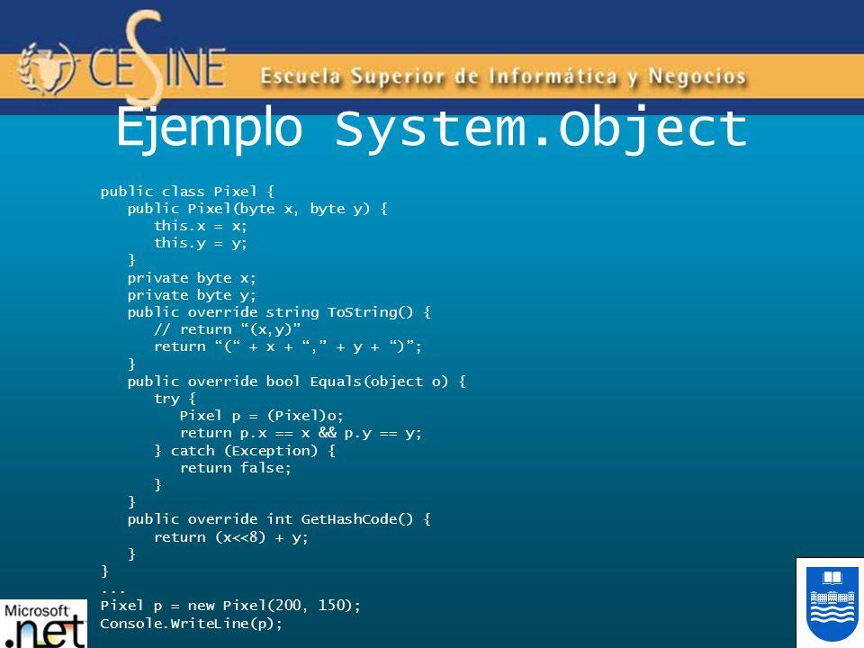 Ejemplo System.Object public class Pixel { public Pixel(byte x, byte y) { this.x = x; this.y = y; } private byte x; private byte y; public override st