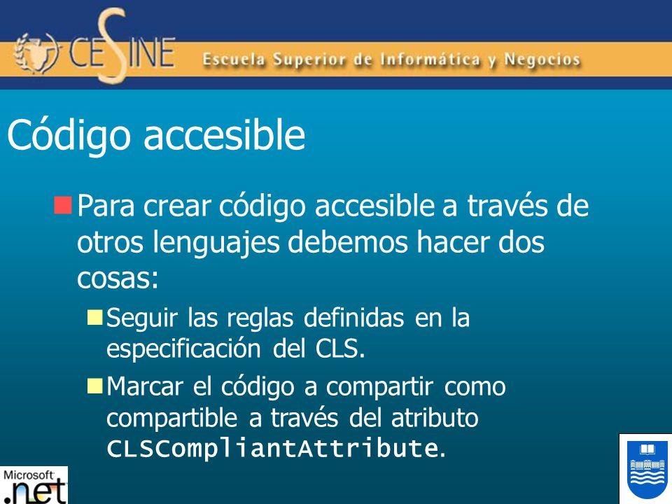Código accesible Para crear código accesible a través de otros lenguajes debemos hacer dos cosas: Seguir las reglas definidas en la especificación del