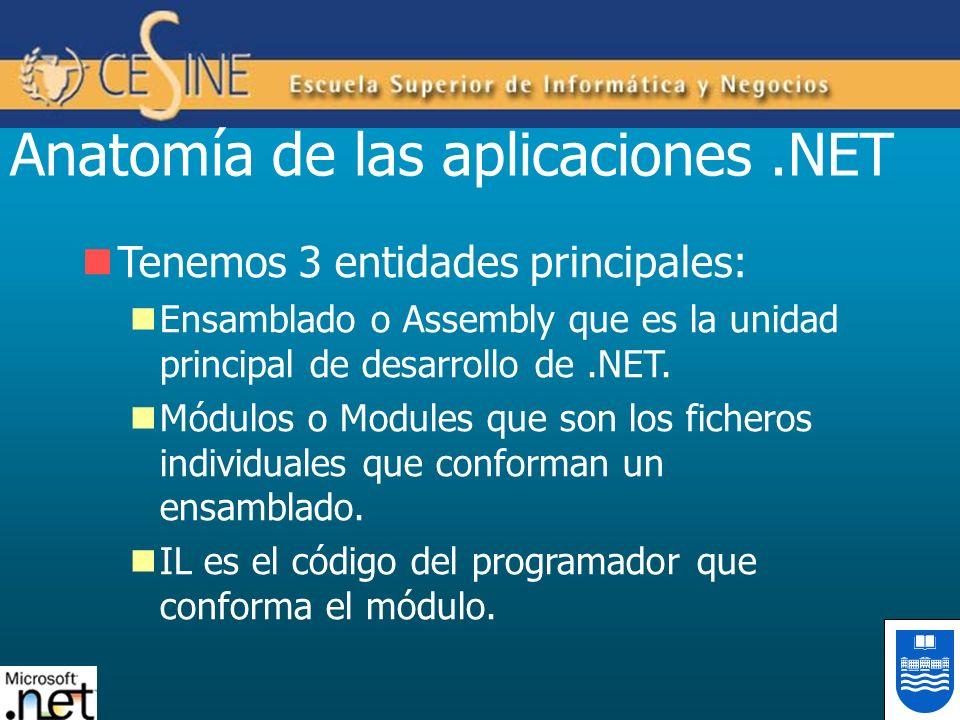 Anatomía de las aplicaciones.NET Tenemos 3 entidades principales: Ensamblado o Assembly que es la unidad principal de desarrollo de.NET. Módulos o Mod