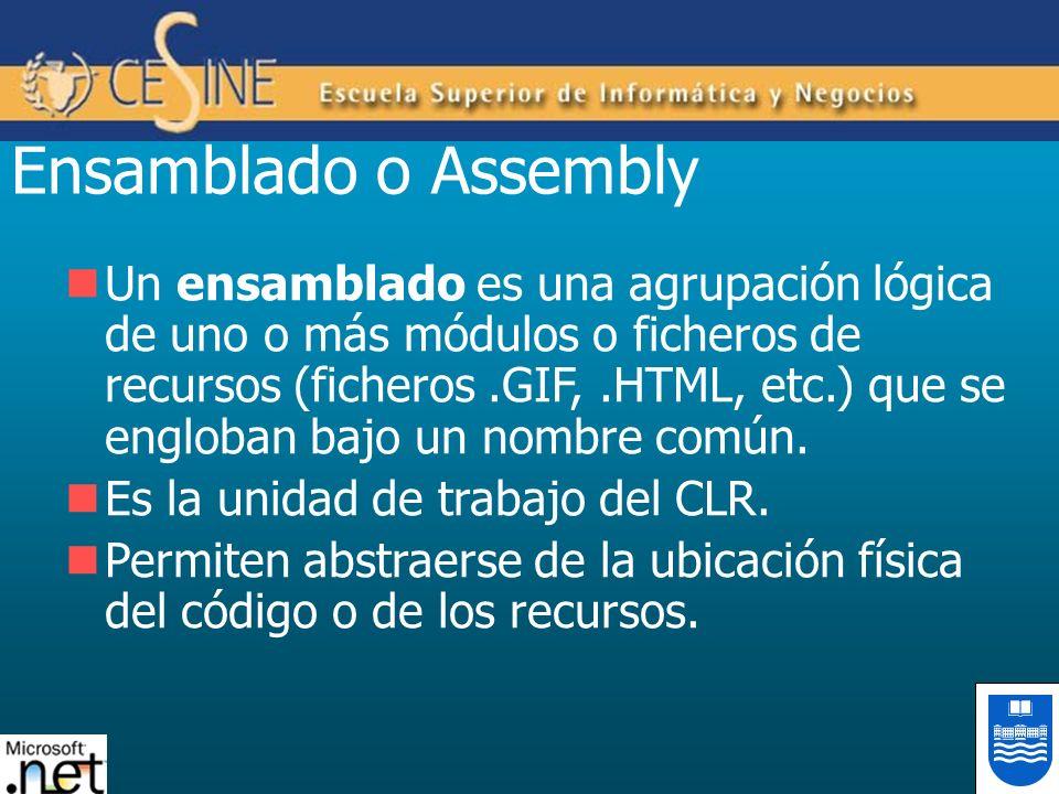 Ensamblado o Assembly Un ensamblado es una agrupación lógica de uno o más módulos o ficheros de recursos (ficheros.GIF,.HTML, etc.) que se engloban ba