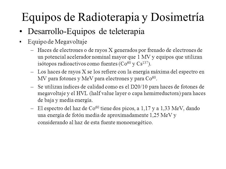 Equipos de Radioterapia y Dosimetría Desarrollo-Equipos de teleterapia Equipo de Megavoltaje –Haces de electrones o de rayos X generados por frenado d