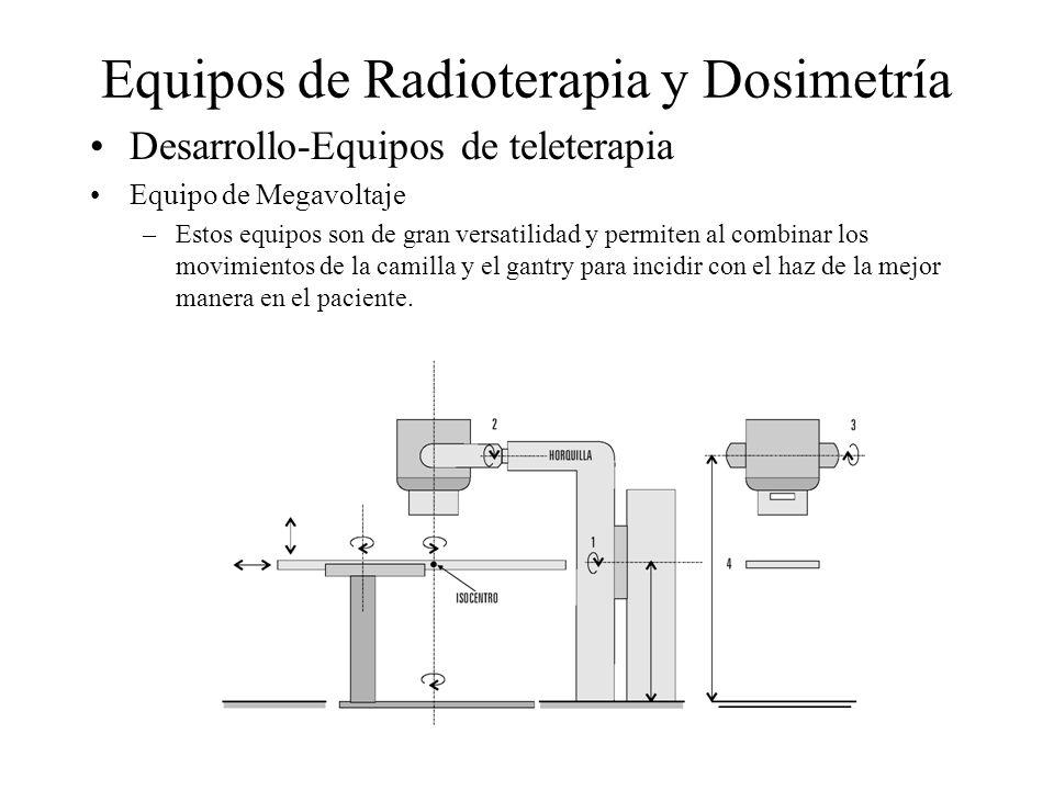 Equipos de Radioterapia y Dosimetría Desarrollo-Equipos de teleterapia Equipo de Megavoltaje –Estos equipos son de gran versatilidad y permiten al com