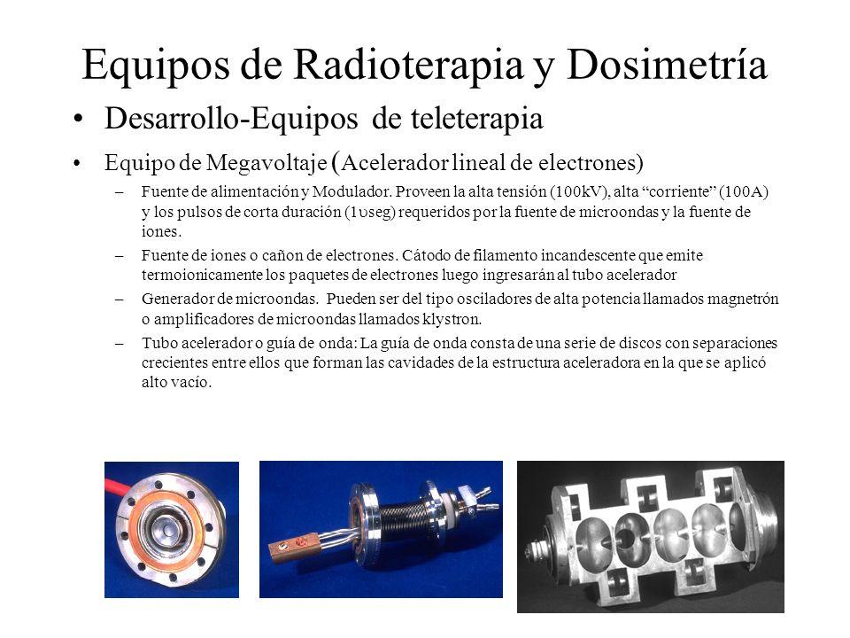 Equipos de Radioterapia y Dosimetría Desarrollo-Equipos de teleterapia Equipo de Megavoltaje ( Acelerador lineal de electrones) –Fuente de alimentació