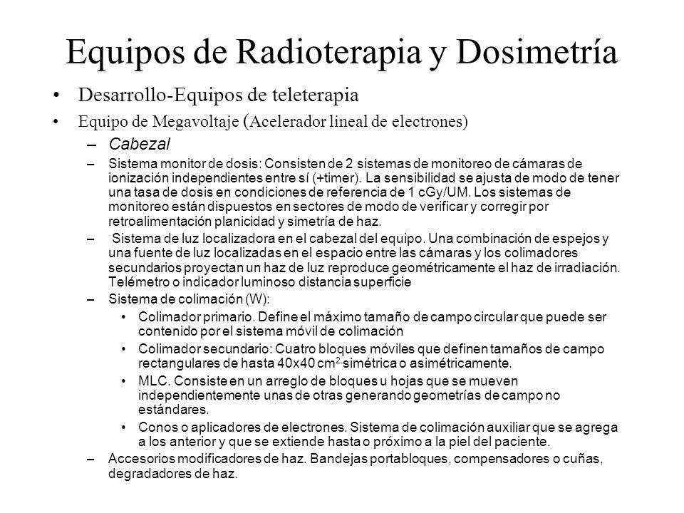 Equipos de Radioterapia y Dosimetría Desarrollo-Equipos de teleterapia Equipo de Megavoltaje ( Acelerador lineal de electrones) –Cabezal –Sistema moni