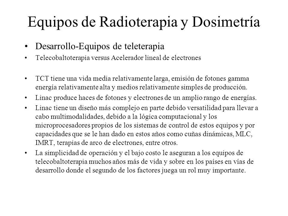 Equipos de Radioterapia y Dosimetría Desarrollo-Equipos de teleterapia Telecobaltoterapia versus Acelerador lineal de electrones TCT tiene una vida me