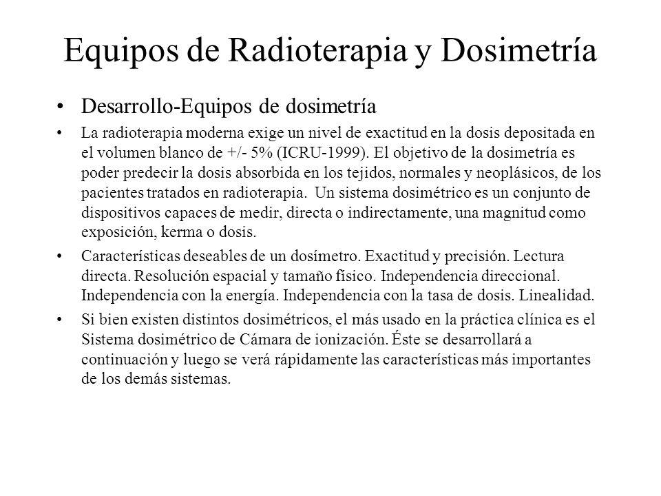 Equipos de Radioterapia y Dosimetría Desarrollo-Equipos de dosimetría La radioterapia moderna exige un nivel de exactitud en la dosis depositada en el