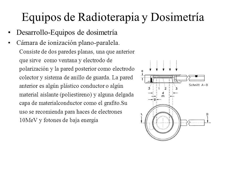 Equipos de Radioterapia y Dosimetría Desarrollo-Equipos de dosimetría Cámara de ionización plano-paralela. Consiste de dos paredes planas, una que ant