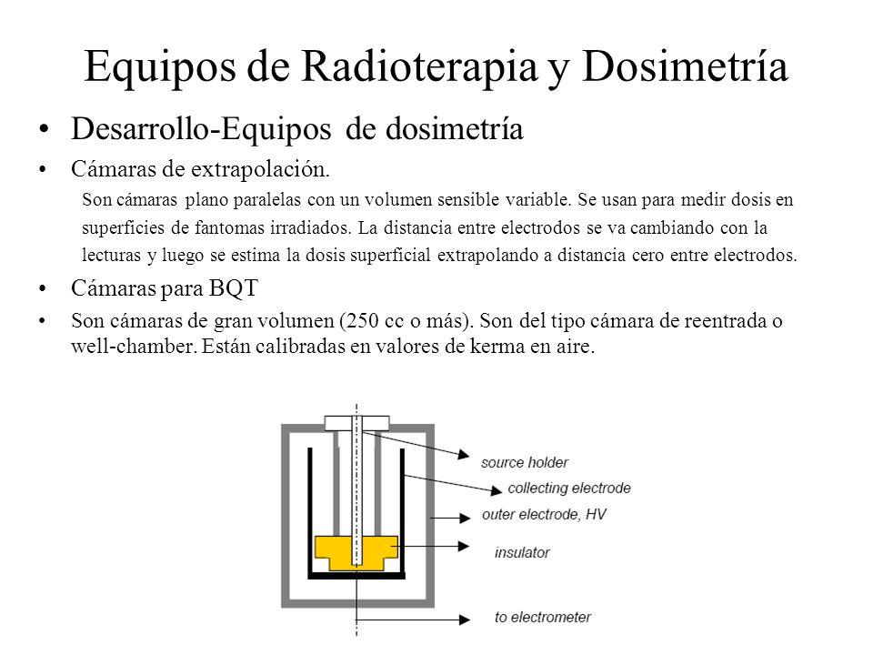 Equipos de Radioterapia y Dosimetría Desarrollo-Equipos de dosimetría Cámaras de extrapolación. Son cámaras plano paralelas con un volumen sensible va