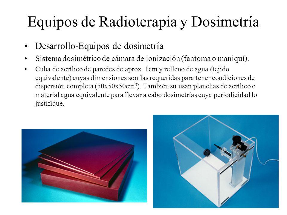 Equipos de Radioterapia y Dosimetría Desarrollo-Equipos de dosimetría Sistema dosimétrico de cámara de ionización (fantoma o maniquí). Cuba de acrílic