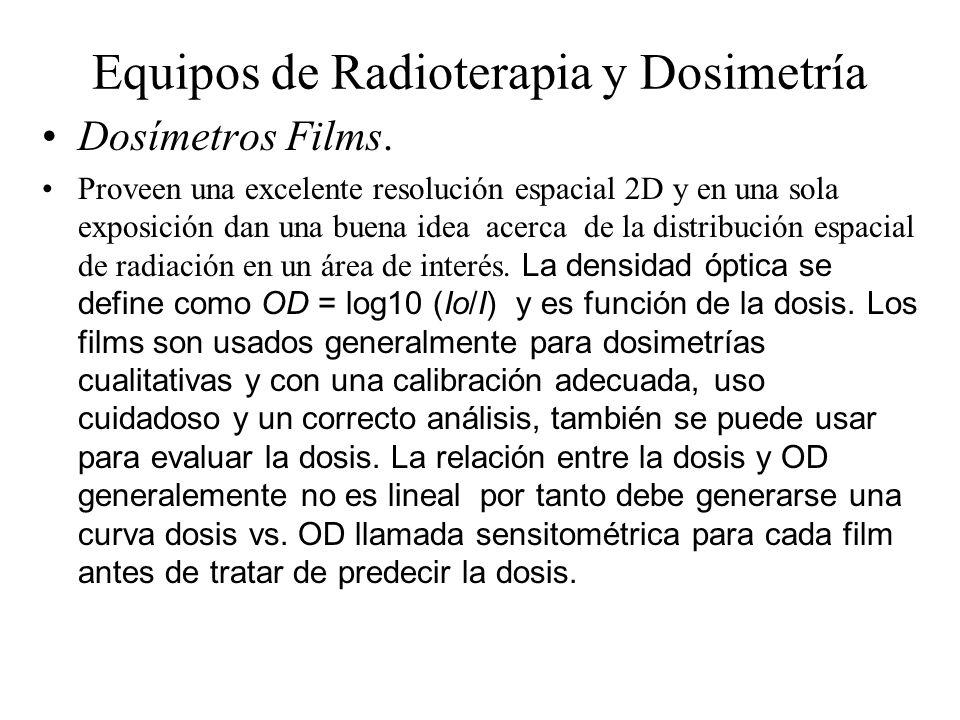 Equipos de Radioterapia y Dosimetría Dosímetros Films. Proveen una excelente resolución espacial 2D y en una sola exposición dan una buena idea acerca