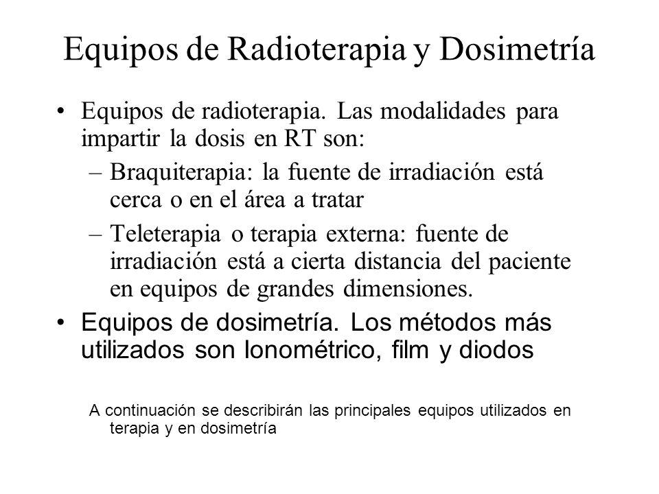 Equipos de Radioterapia y Dosimetría Equipos de radioterapia. Las modalidades para impartir la dosis en RT son: –Braquiterapia: la fuente de irradiaci