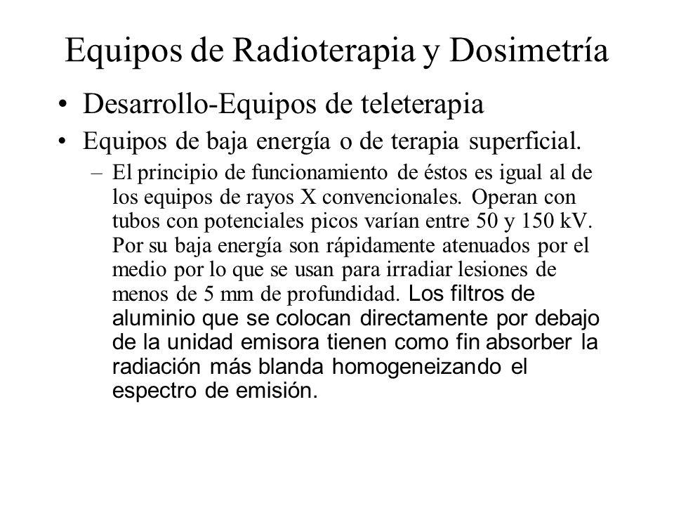 Equipos de Radioterapia y Dosimetría Desarrollo-Equipos de teleterapia Equipos de baja energía o de terapia superficial. –El principio de funcionamien